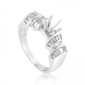 ~1.04ct Platinum Diamond Engagement Ring Mounting