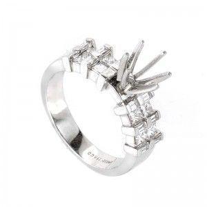 ~.91ct Platinum and Diamond Engagement Ring Mounting