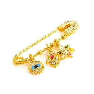18K Yellow Gold Diamond & Enamel Judaic Charms Safety Pin
