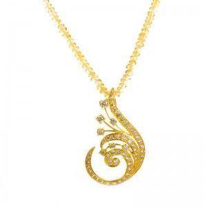18K Yellow Gold Citrine & Yellow Diamond Swirl Pendant Necklace
