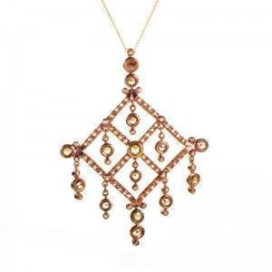 18K Rose Gold Champagne Diamond Pendant Necklace