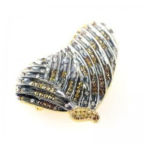 18K Yellow and Black Rhodium Multi Diamond Butterfly Pin