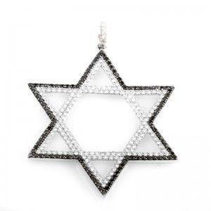 14K White Gold Multi-Diamond Star of David Pendant MFC07-052213