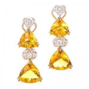 18K White Gold Diamond and Citrine Drop Earrings
