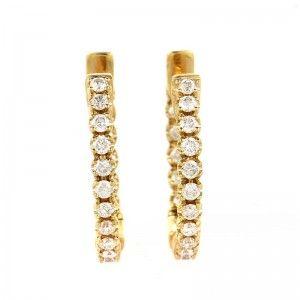 0.79ct 14K Yellow Gold Diamond Hoop Earrings AER-4634Y