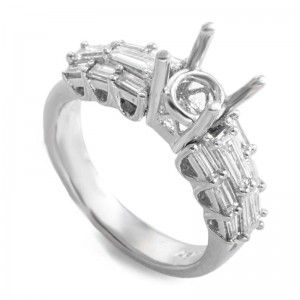 ~.97ct Platinum and Diamond Engagement Ring Mounting