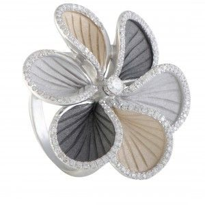 Annamaria Cammilli Wave 18K White and Yellow Gold and Black Rhodium Diamond Flower Ring