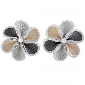 Annamaria Cammilli Wave 18K White and Yellow Gold, and Black Rhodium Diamond Flower Earrings
