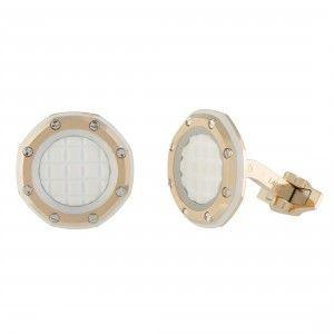 Audemars Piguet Royal Oak Offshore 18K Rose Gold White Rubber Octagonal Cufflinks