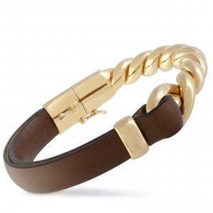 Bucherer 18K Rose Gold and Brown Leather Bangle Bracelet