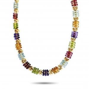 Bvlgari 18K Yellow Gold Multi Gemstone Collar Necklace