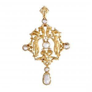 Carrera y Carrera 18K Yellow Gold Rose Cut Diamond Pendant/Brooch