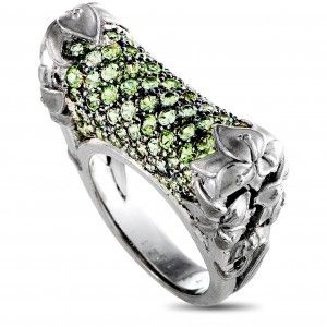 Carrera y Carrera Jazmín 18K White Gold Green Sapphire Pave Cylinder Ring