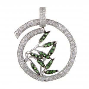 Carrera y Carrera Bambú 18K White Gold Diamond Pave and Tsavorite Large Spiral Pendant