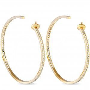 Cartier 18K Yellow Gold Diamond Huge Hoop Push Back Earrings