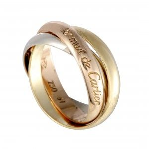 Cartier Trinity Les Must de Cartier 18K Yellow White and Rose Gold Rolling Band Ring