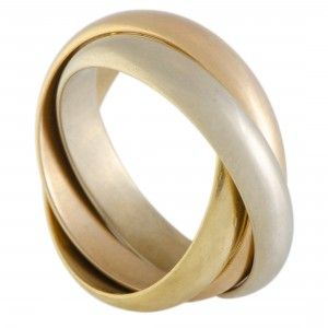 Cartier Trinity de Cartier 18K Yellow White and Rose Gold Rolling Three Band Ring