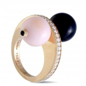 Cartier Évasions 18K Rose Gold Diamond Pave, Pink and Black Sapphires, Pink Opal and Onyx Ball Ring