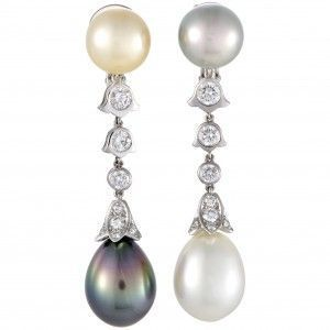 Cartier Platinum Diamond and Tahitian and South Sea Pearl Clip-on Earrings