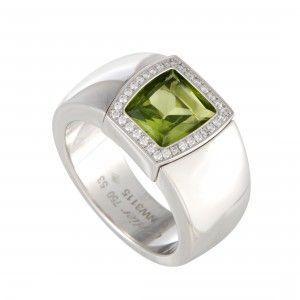 Cartier La Dona 18K White Gold Diamond and Peridot Ring