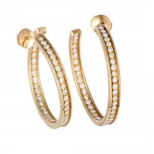 Cartier 18K Yellow Gold Diamond Inside Out Large Hoop Earrings