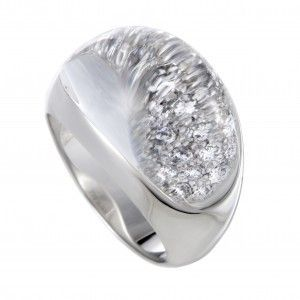 Cartier Myst 18K White Gold Full Diamond Pave and Rock Crystal Bombe Ring
