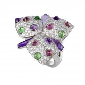 Cartier Caresse d'Orchidees 18K White Gold Diamond Pave Tsavorite, Pink Tourmaline and Amethyst Flower Ring