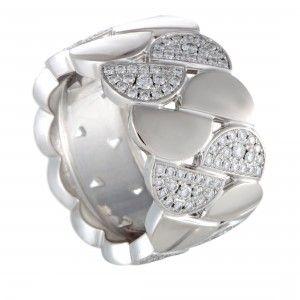 Cartier La Dona 18K White Gold Diamond Wide Band Ring