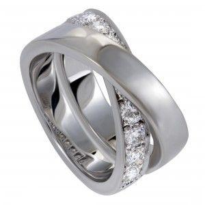 Cartier Paris Nouvelle Vague 18K White Gold Diamond Band Ring