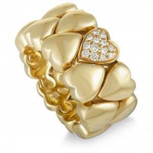 Cartier 18K Yellow Gold Diamond Hearts Band Ring