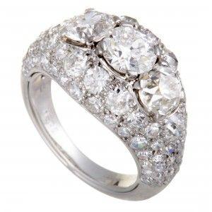 Cartier Chevaliere Platinum European Cut Diamond Pave and 3 Centerl Diamonds Bombe Ring