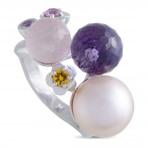 Chanel 18K White Gold Multiple Gemstones and Pearl Ball Ring