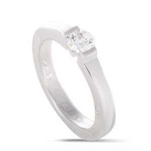 Chanel Estate 18K White Gold Diamond Solitaire Engagement Ring