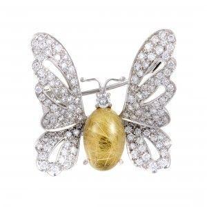 Chantecler 18K White Gold Diamond Rutilated Quartz Butterfly Brooch
