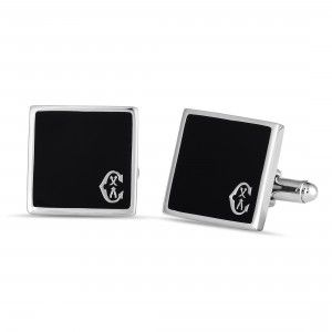 Charriol Classic Stainless Steel Onyx Square Cufflinks