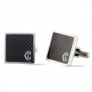 Charriol Classic Stainless Steel Carbon Fiber and Black Enamel Square Cufflinks