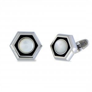 Charriol Rotonde Stainless Steel, White Mother of Pearl and Black Enamel Hexagon Cufflinks