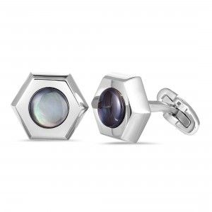 Charriol Rotonde Stainless Steel Black Mother of Pearl Hexagon Cufflinks