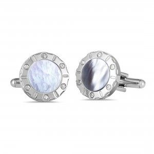 Charriol Rotonde Stainless Steel White Mother of Pearl Round Cufflinks