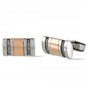 Charriol Stainless Steel Rose Gold Plated Cable Rectangle Cufflinks