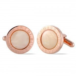 Charriol Stainless Steel Rose Gold Plated White Mother of Pearl Round Cufflinks