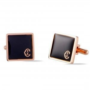 Charriol Classic Stainless Steel Rose Gold Plated Black Enamel Square Cufflinks