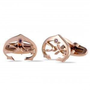 Charriol C-Logo Stainless Steel Rose Gold Plated Plum Cubic Zirconia Stone Cufflinks