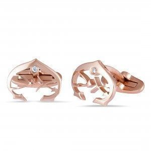 Charriol C-Logo Stainless Steel Rose Gold Plated White Cubic Zirconia Cufflinks