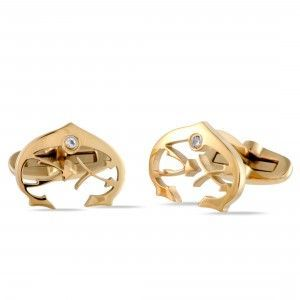 Charriol C-Logo Stainless Steel Yellow Gold Plated White Cubic Zirconia Stone Cufflinks