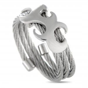 Charriol Tattoo Stainless Steel Spiral Cable Band Ring