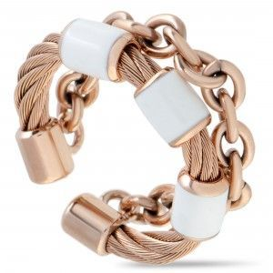 Charriol St. Tropez Stainless Steel and Pink PVD White Enamel Cable and Chain Band Ring