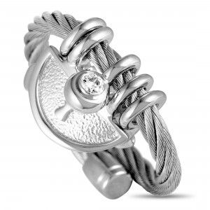 Charriol My Heart Stainless Steel and White Cubic Zirconia Keyhole Cable Ring