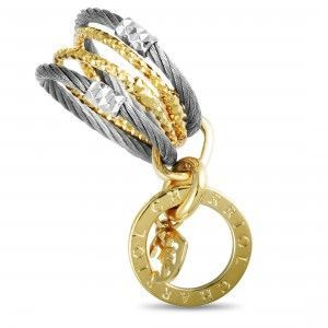 Charriol Fête du Jour Stainless Steel and Yellow PVD Signature Charm Band Ring
