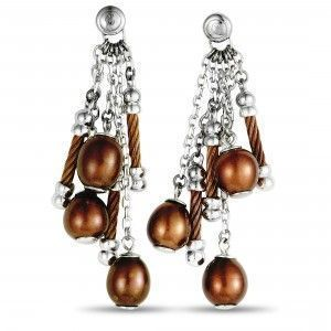 Charriol Pearl Stainless Steel and Bronze PVD Brown Pearls Dangle Push Back Earrings